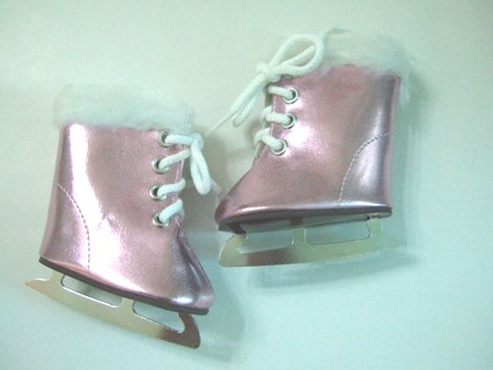 Pink Metallic Furry Ice Skates