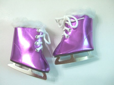 Purple Metallic Furry Ice Skates