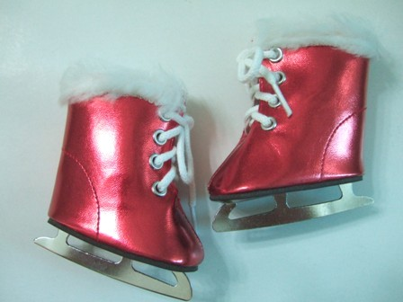 Red Metallic Furry Ice Skates