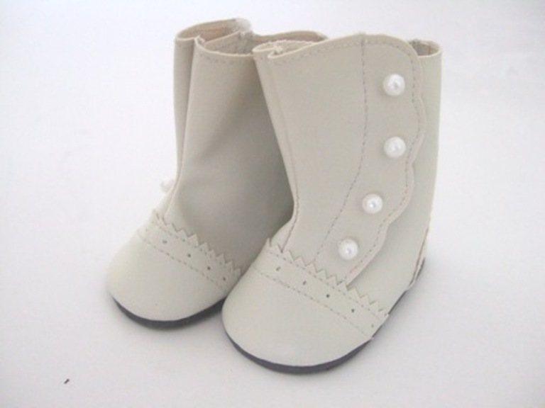 Cream Victorian Button Boots