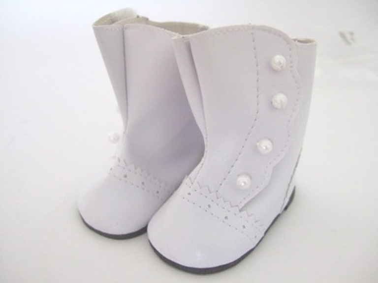 White Victorian Button Boots