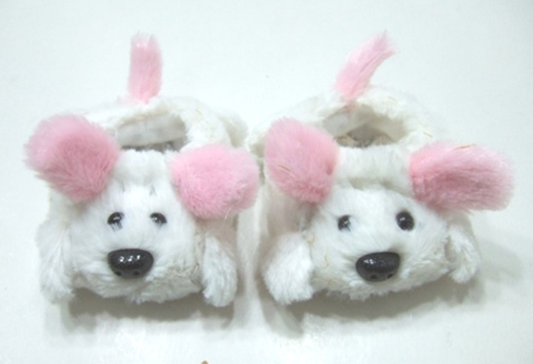 White and Pink Dog Slippers