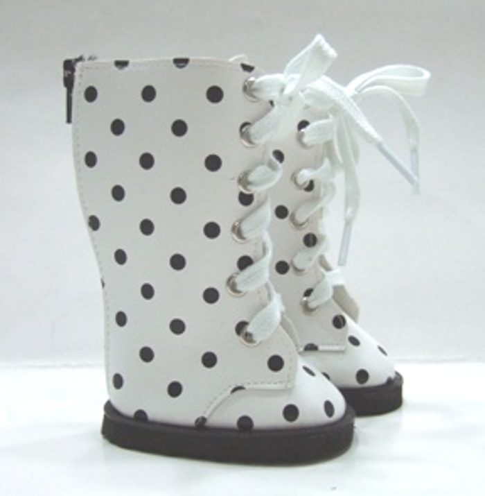 White Dot Knee High Vinyl Boots