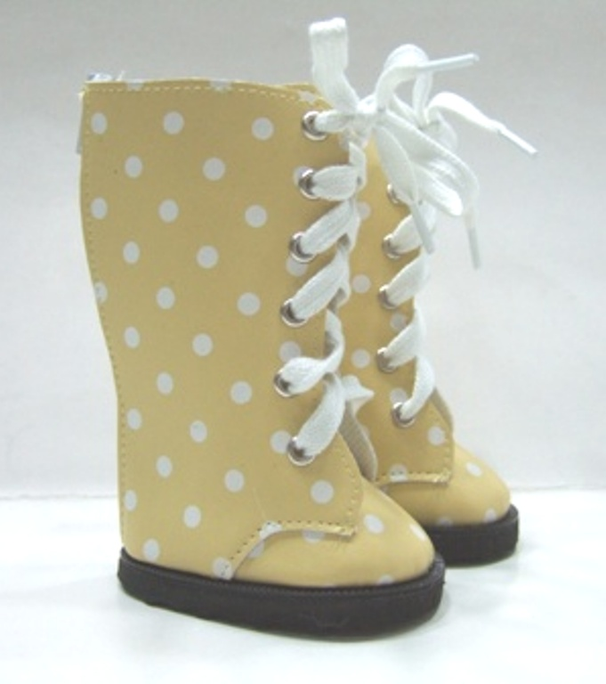 Yellow Dot Knee High Vinyl Boot