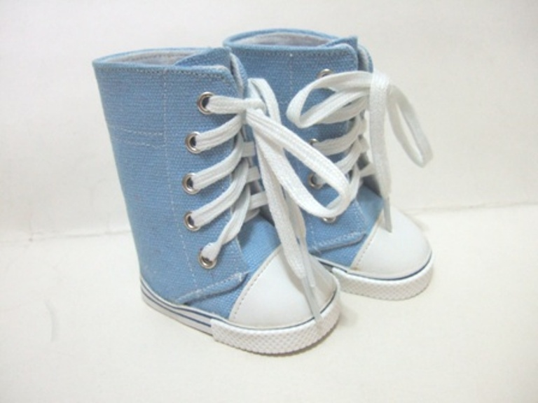 Knee High Lt Blue Denim Sneaker Boot