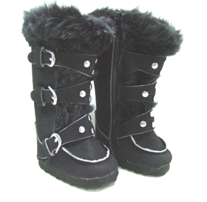 Black Knee High Buckle Boots
