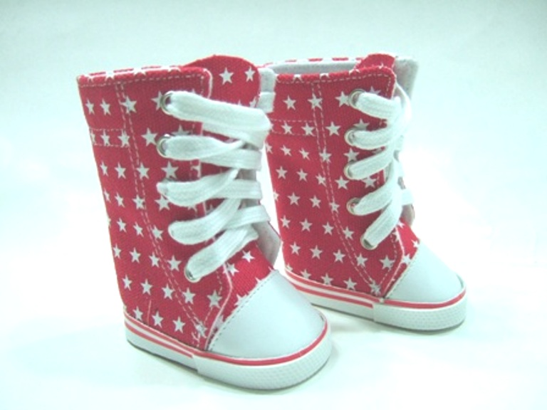 Red High Top Tennis Shoes With White Stars