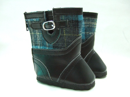 Blue Plaid Boots