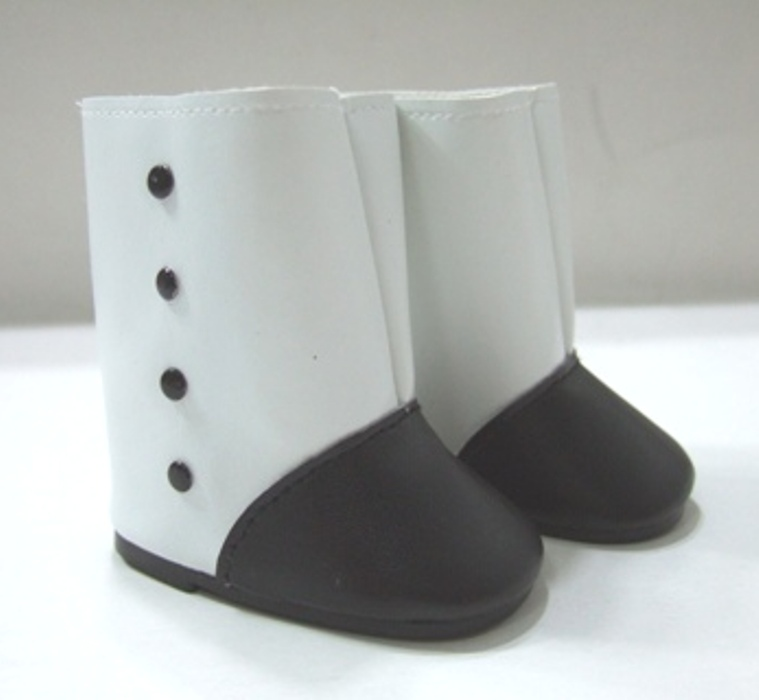White and Black Victorian Black Button Boot