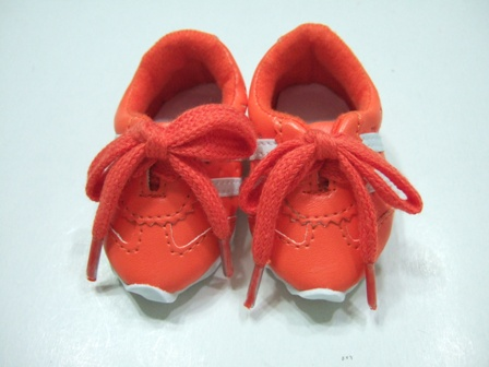 Orange Leather Look Tennis Shoe