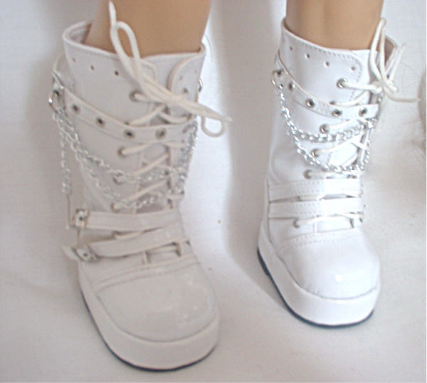 White Tall Vinyl Boots