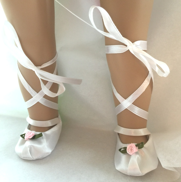 White With Pink Rosebud Ballet Slippers