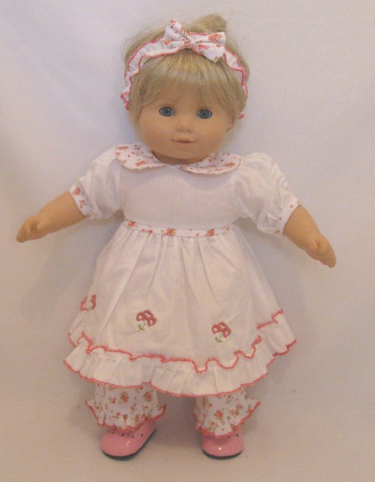 Bitty Baby White Dress With Floral Trim