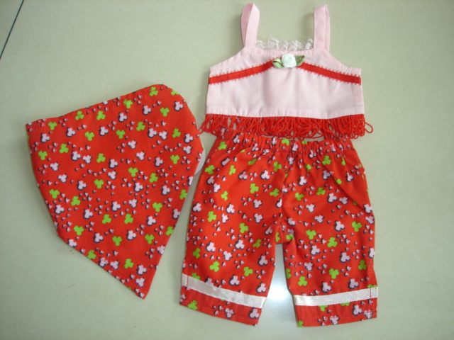 Red Print Capri Set