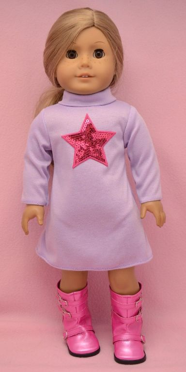 Turtle Neck Dress With Sequin Star