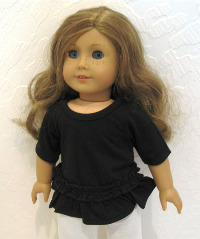 Black Long T-Shirt With Ruffle