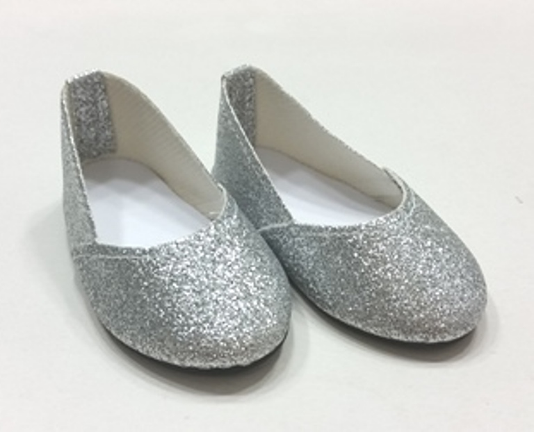 Silver Glitter Slip On Shoes