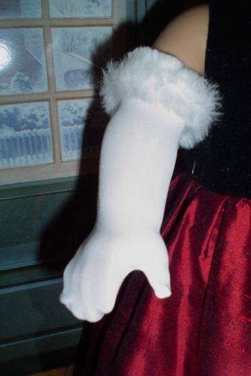 White Fur Topped Gloves