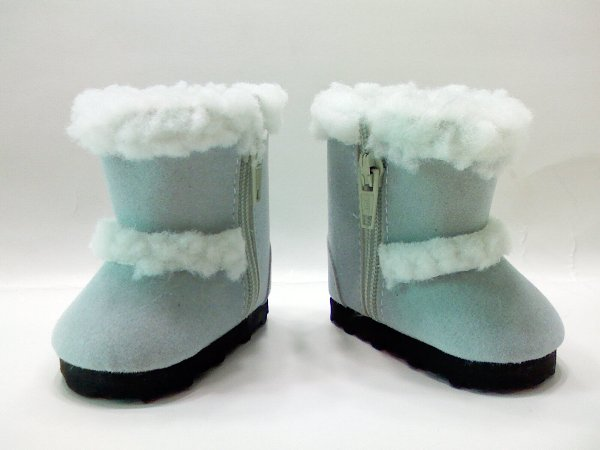 Baby Blue Faux Shearling Boots