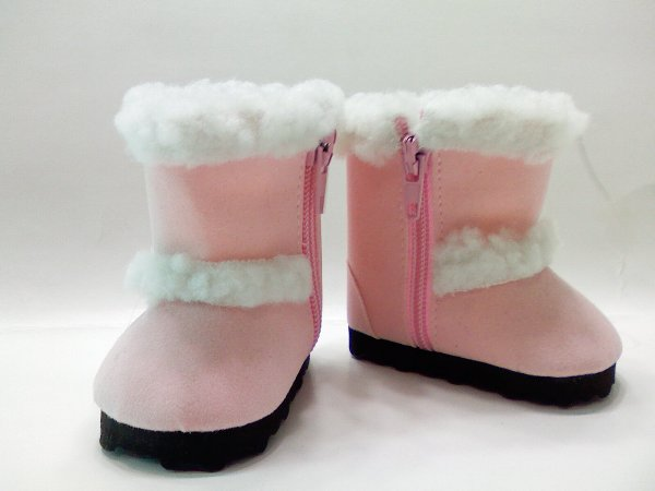 Pink Faux Shearling Boots