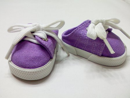Purple Backless Canvas Mules