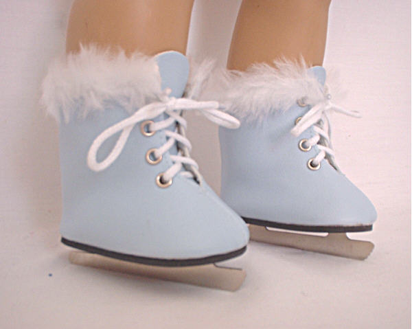 Baby Blue Furry Ice Skates