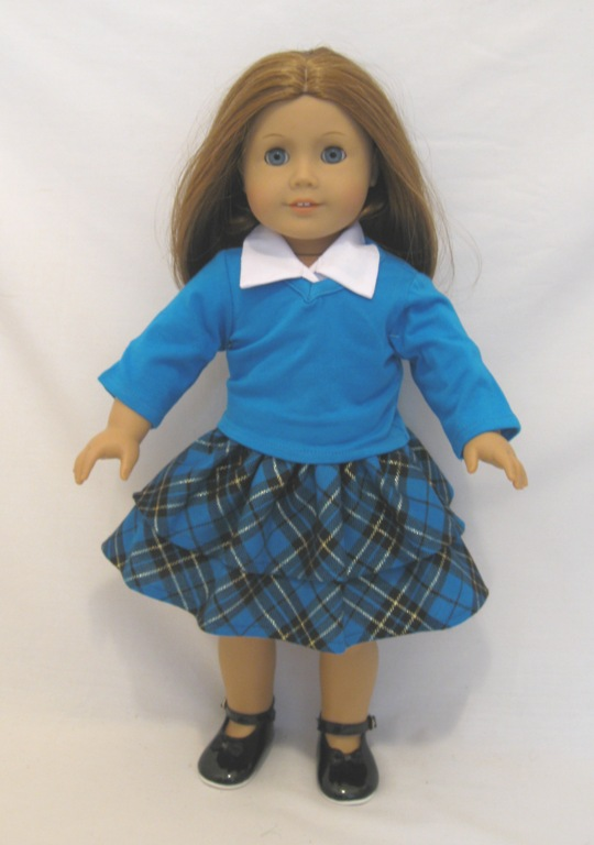 Blue Plaid Skirt Set