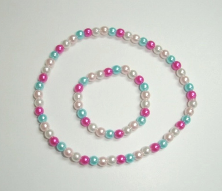 Multi Colored Pearl Necklace and Bracelet Set