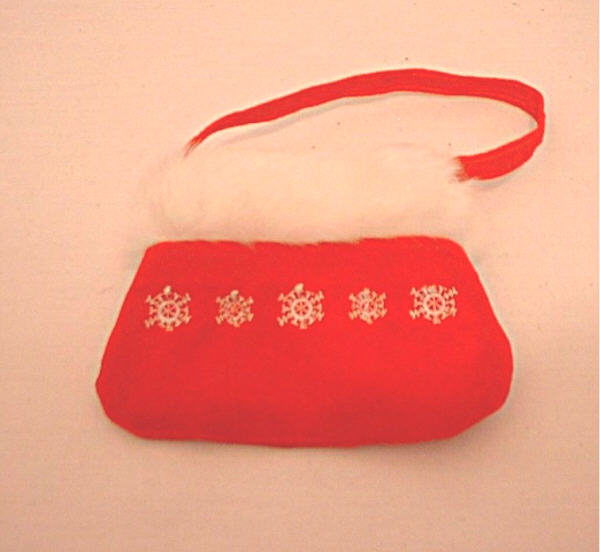 Red purse with fur trim