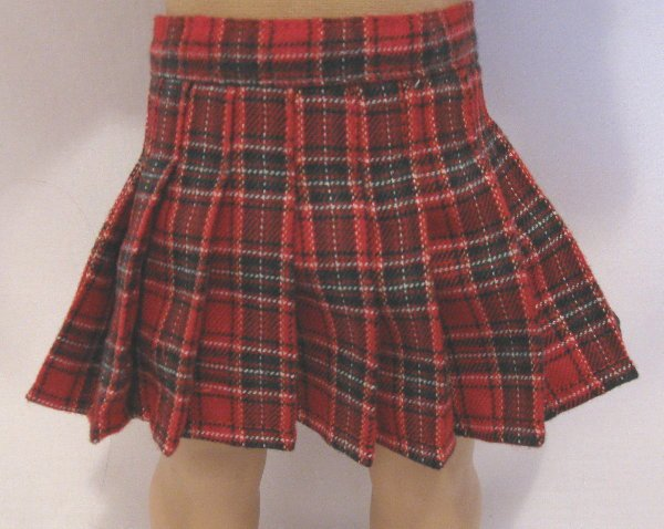 Red Plaid Wool Skirt