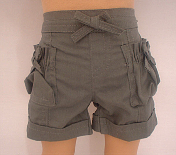 Green Rolled Up Cuff Shorts