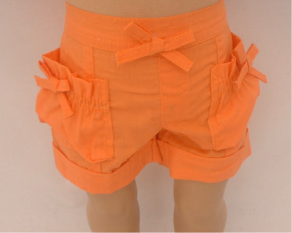 Orange Rolled Up Cuff Shorts