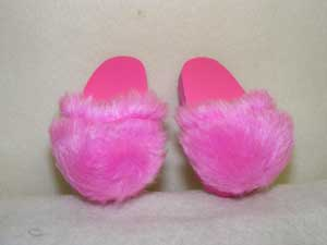 Pink Fuzzy Hard Sole Slipper