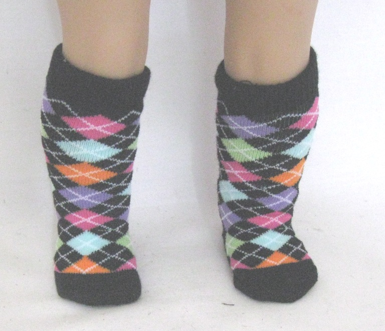 Black Argyle Knee High Socks