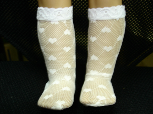 White Heart Mesh Sock