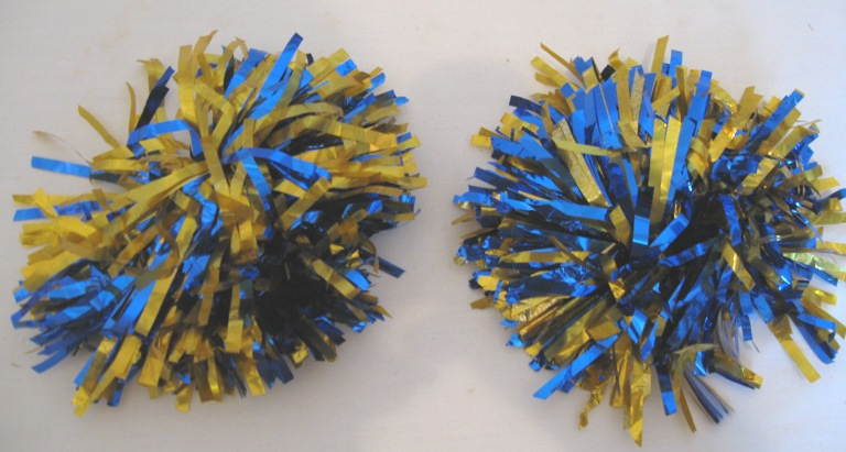 2 Blue And Gold Pom Poms