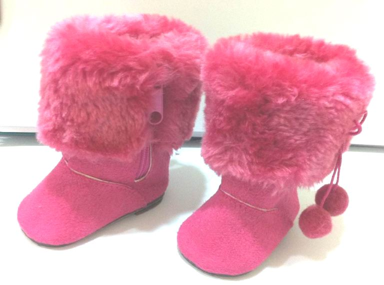 Hot Pink Fur Top Boots