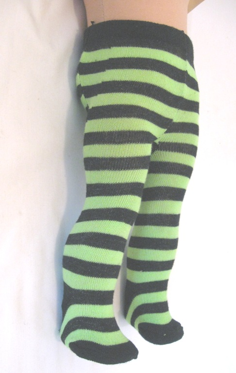 Green and Black Stripe Tights