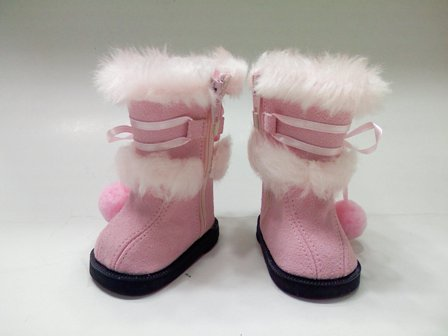 Pink Boots with White Fur