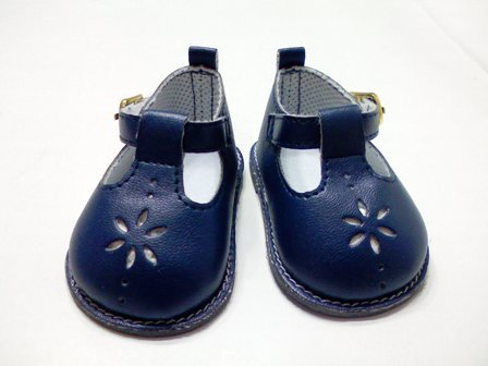 Navy Flower Mary Janes